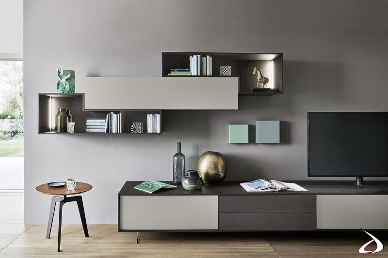 Mobile soggiorno moderno con pensili sagomati illuminati a led internamente