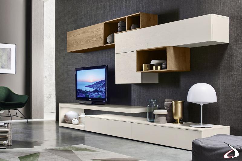 Soggiorno di design con pianale sospeso porta tv con illuminazione led