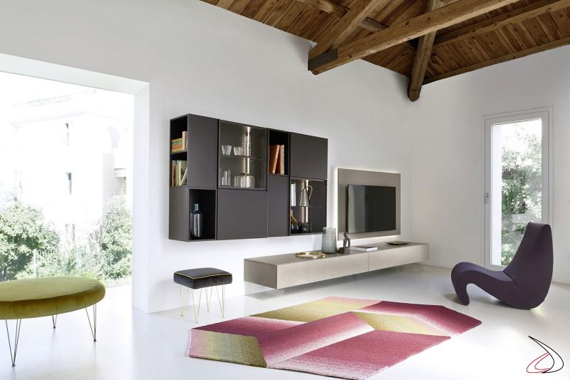 Elegante parete soggiorno di design con pannello porta tv retroilluminato