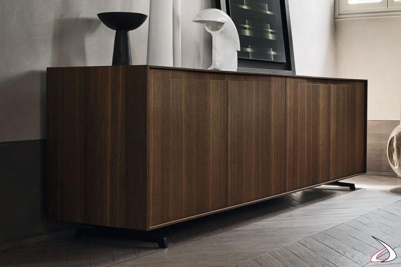 Credenza elegante di design a 4 ante in legno impiallacciato rovere termotrattato