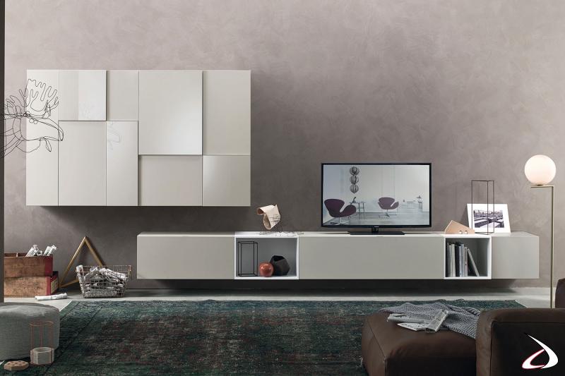 Parete soggiorno sospesa di design dalle grandi dimensioni in laccato opaco e in laccato lucido