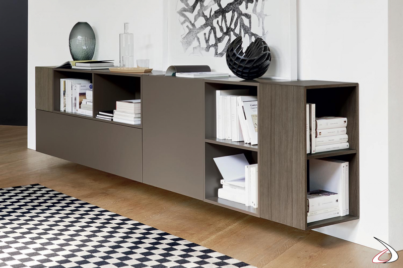 Credenza di design sospesa da soggiorno con elementi a giorno laterali