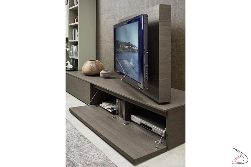 Mobile soggiorno con base bassa anta a ribalta e pannello tv orientabile
