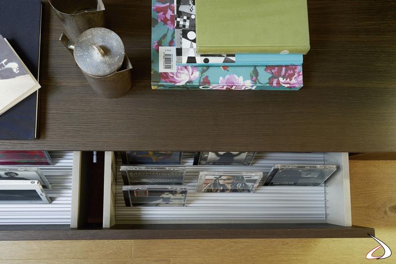 Parete attrezzata made in Italy con base cassetti porta dvd