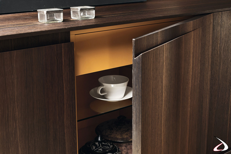 Credenza bassa di design in legno impiallacciato a 4 ante con cassetto interno