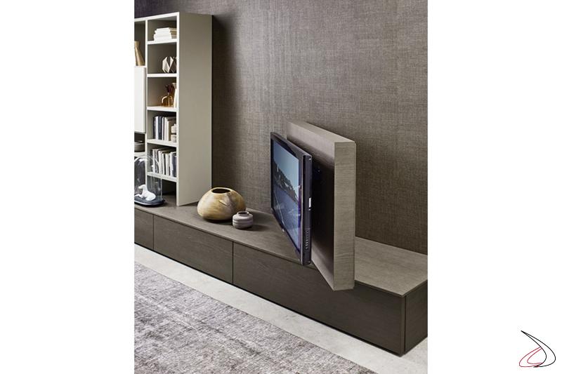 Parete soggiorno moderna con pannello porta tv girevole