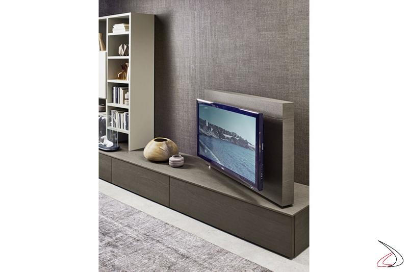 Mobile soggiorno moderno con pannello porta tv orientabile
