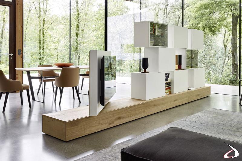 Mobile soggiorno bifacciale di design da centro stanza con pensili vetrina e pannello tv girevole