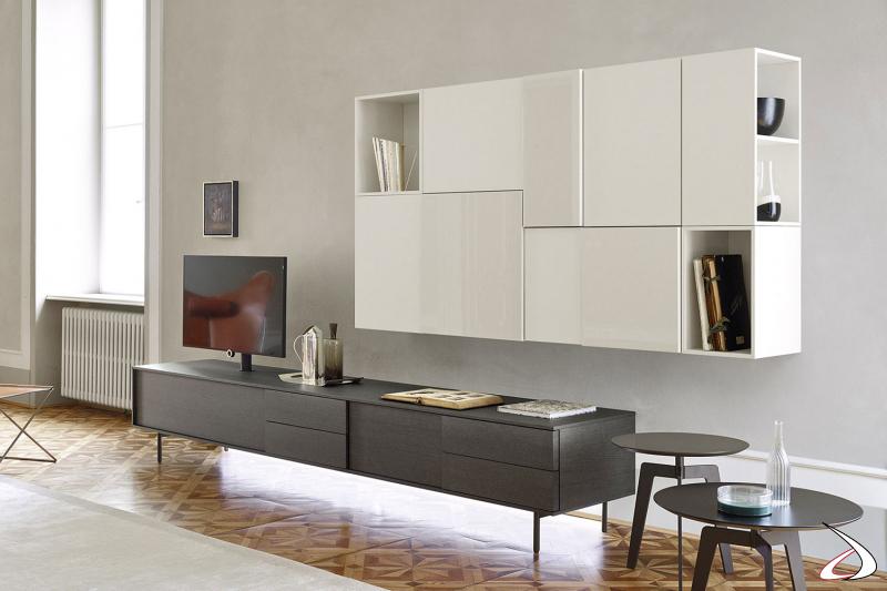 Mobile soggiorno contemporaneo con base cassetti porta tv con illuminazione a led