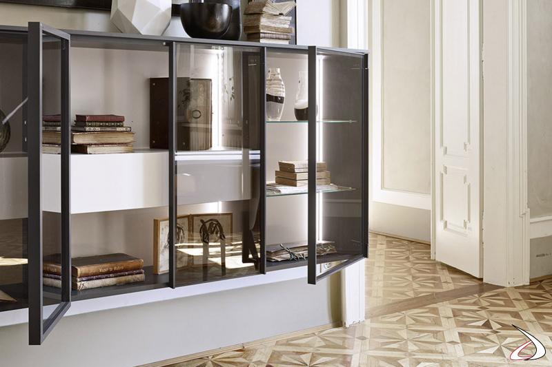 Madia sospesa di design con ante in vetro, cassetti porta oggetti e luci led interne