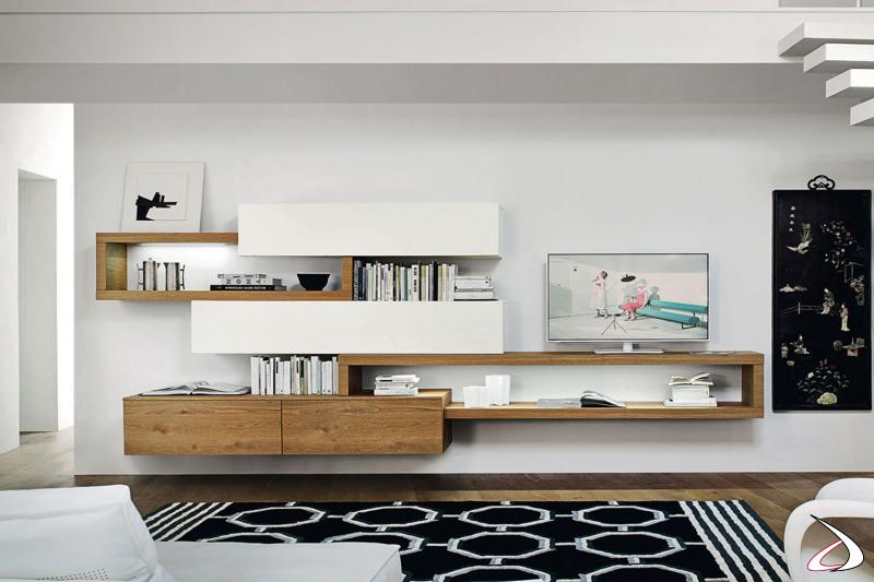 Elegante mobile soggiorno sospeso di design in bianco opaco e rovere nodato