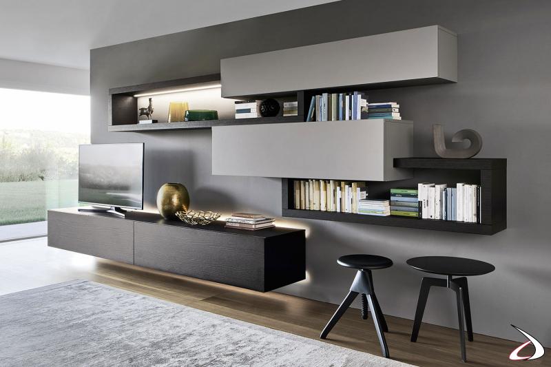 Mobile soggiorno di design in legno con luci led base porta tv e mensola