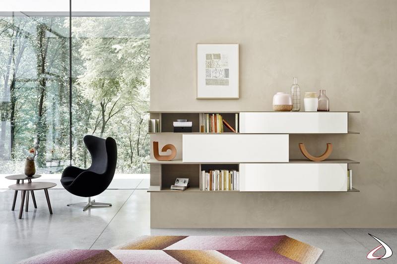 Libreria sospesa di design da soggiorno con ante scorrevoli