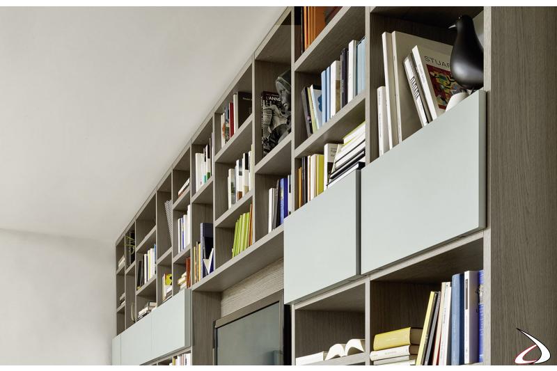 Libreria design da soggiorno in legno
