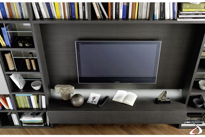 bookcase with tv holder