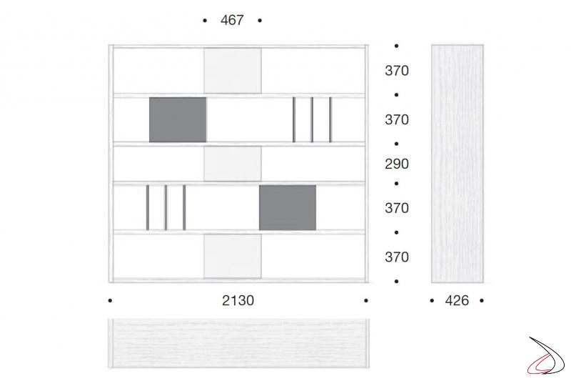 Misure libreria soggiorno in legno