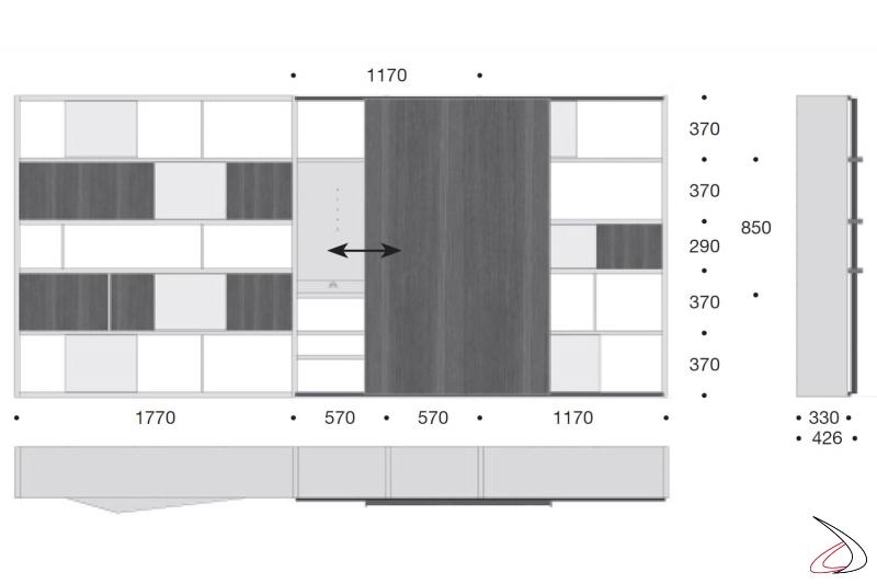 Misure libreria di design con porta scorrevole