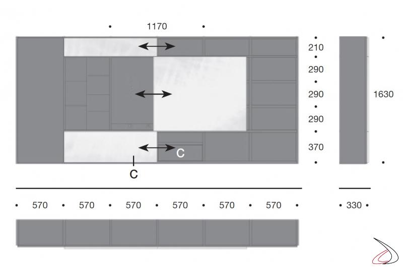 Misure parete soggiorno sospesa di design