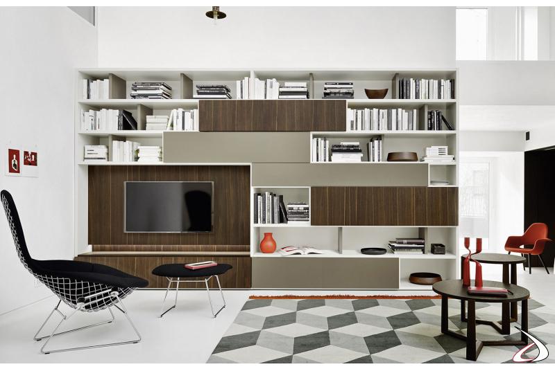 Parete libreria moderna per la zona living