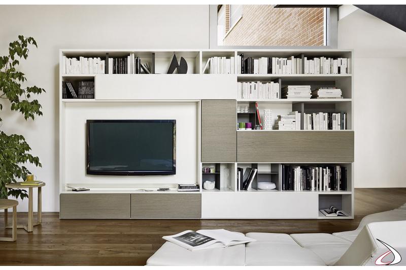 Mobile libreria moderna in legno da soggiorno