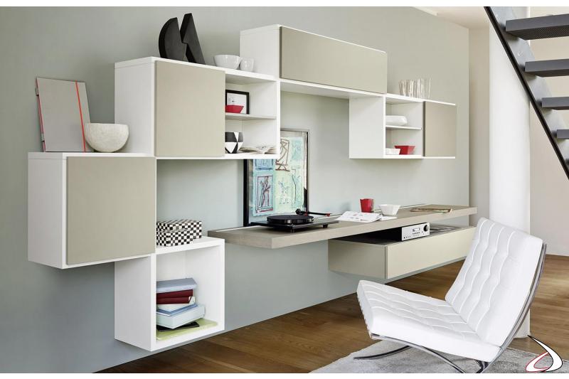Mobile soggiorno di design sospeso con scrittoio