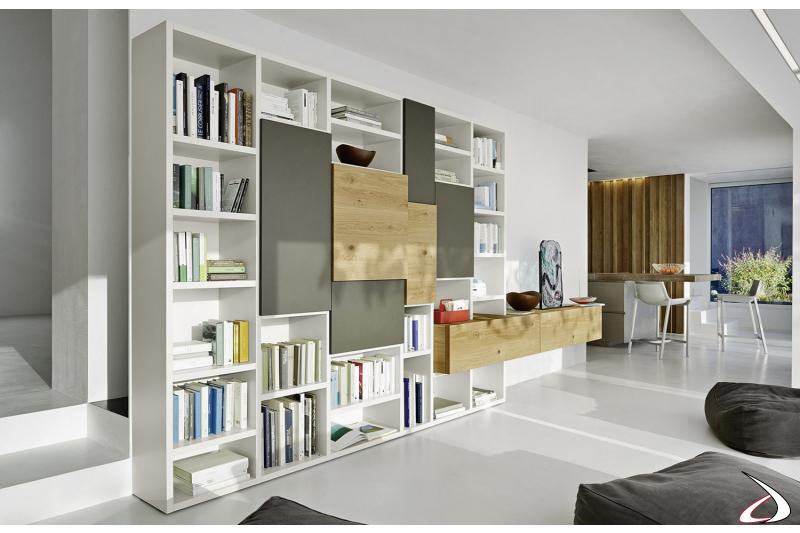 Parete libreria design da soggiorno