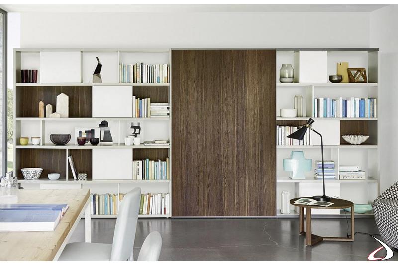 Libreria soggiorno di design con anta scorrevole