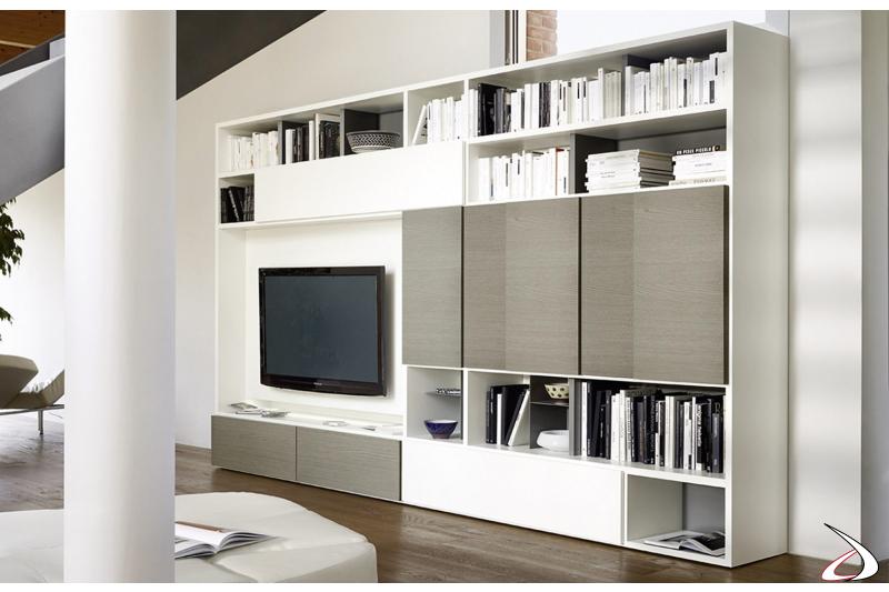 Libreria soggiorno in legno componibile