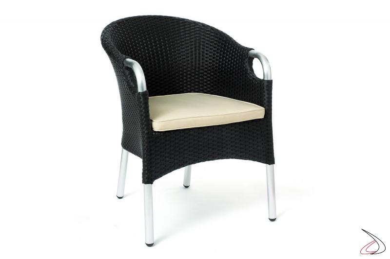 Sedia con particolari in alluminio da esterno colore antracite