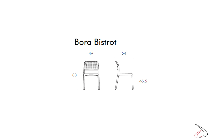 Nardi Garden - Misure sedia Bora Bistrot