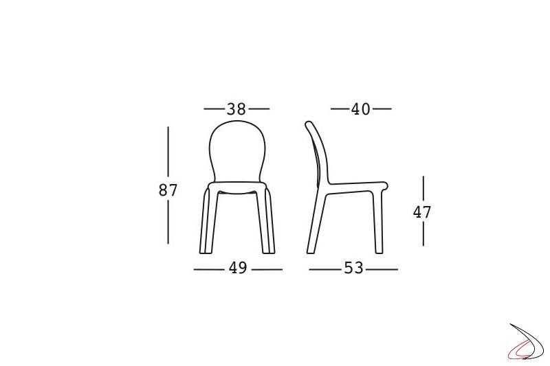 Misure e ingombri della sedia Chloè.