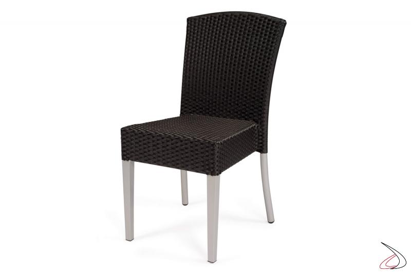Sedia da veranda colore antracite con gambe verniciate grigio