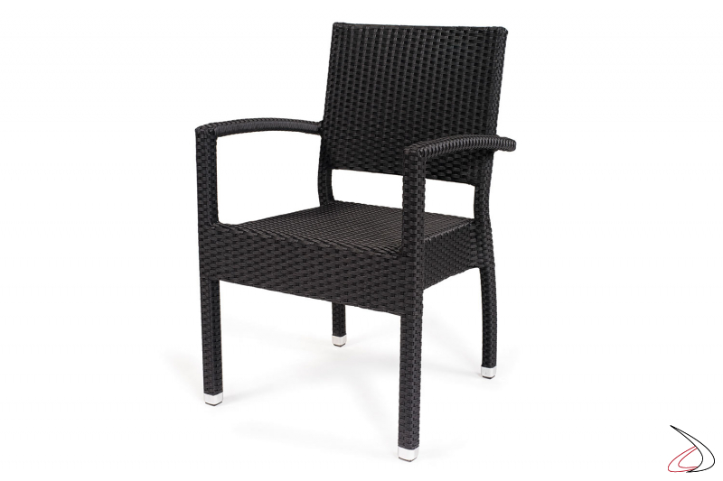 Sedia con poggioli e schienale in vimini sintetico colore antracite