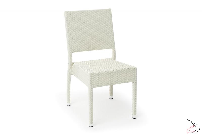 Sedia con schienale da arredo giardino colore bianco