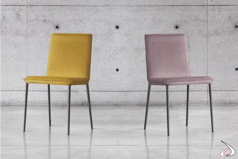 Sedia moderna con gambe in metallo e sedile imbottito Elling
