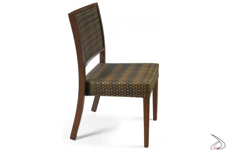 Deck chair with painted frame in deco nogal and backrest in coffee colour
