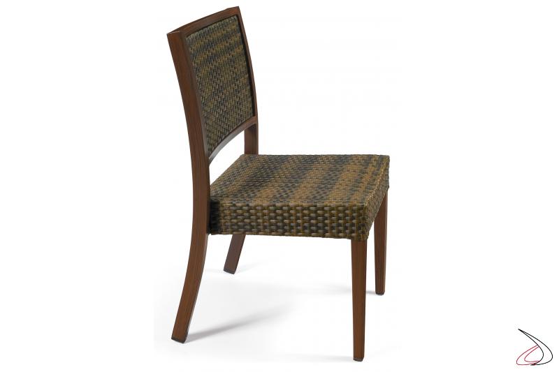 Sedia da terrazzo esterno con struttura verniciata deco nogal e schienale e seduta colore caffé