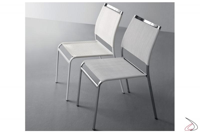 Sedia da cucina in metallo con seduta e schienale in cuoio