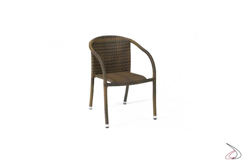 Sedia da arredo esterno con schienale colore caffé