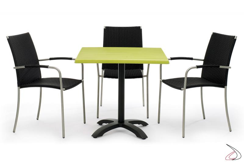 Arredo giardino con tavolo e sedie colore antracite