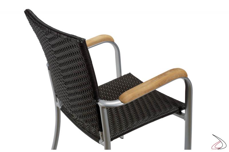 Sedia da terrazzo con braccioli colore wengé