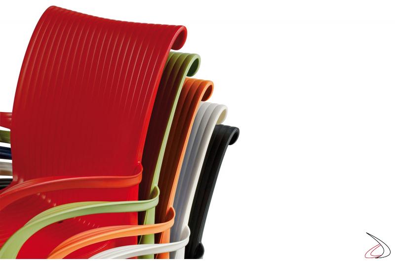 Sedia dama colorata in polipropilene