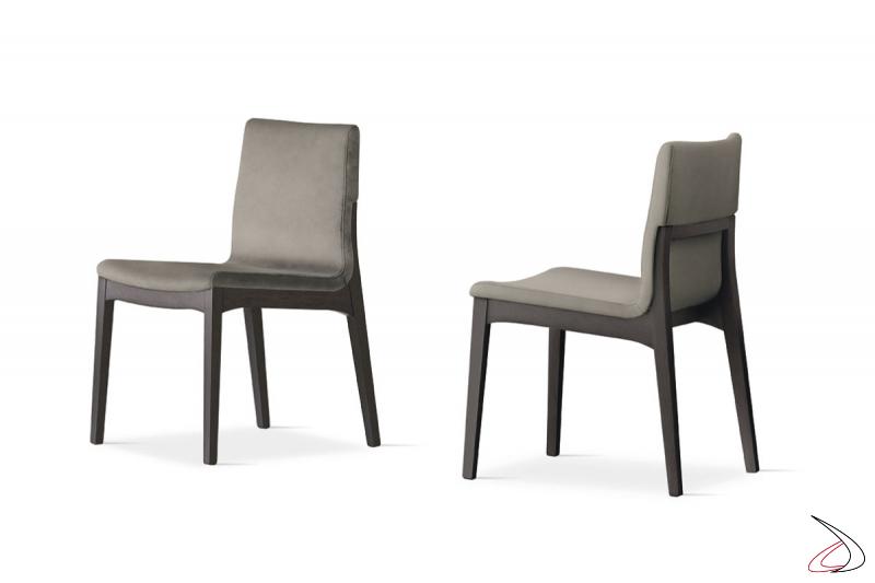 Sedia design in legno con seduta imbottita rivestita Rocci