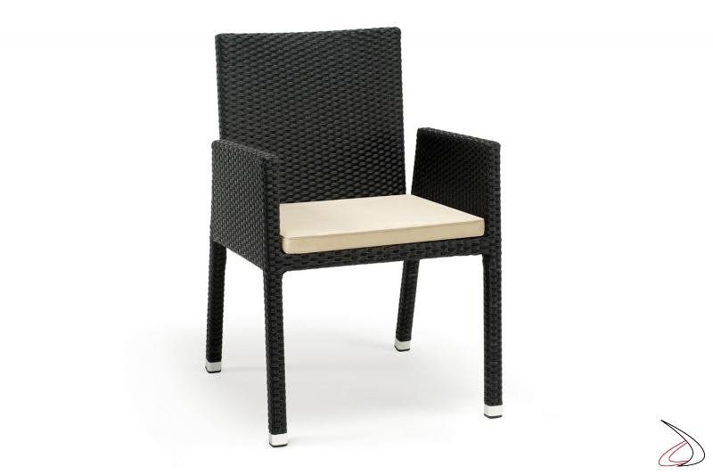 Sedia con cuscino alla moda da terrazzo esterno colore antracite
