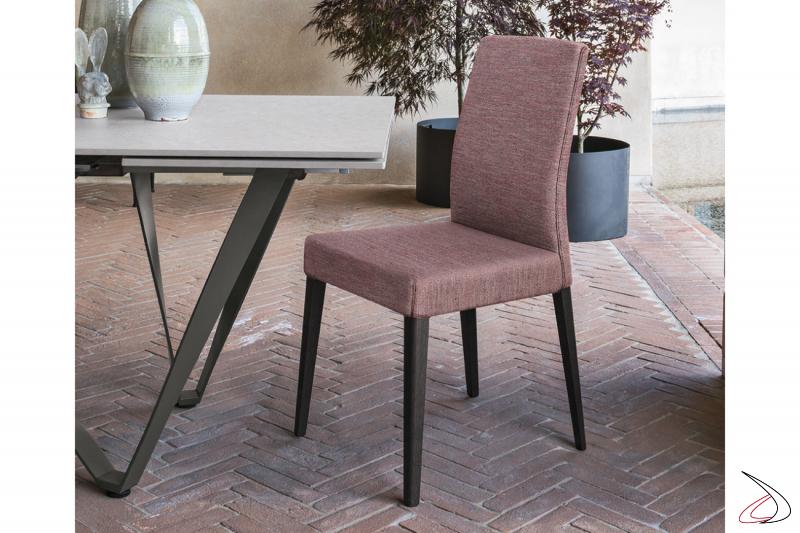 Sedia da pranzo moderna con schienale alto imbottito Pongi