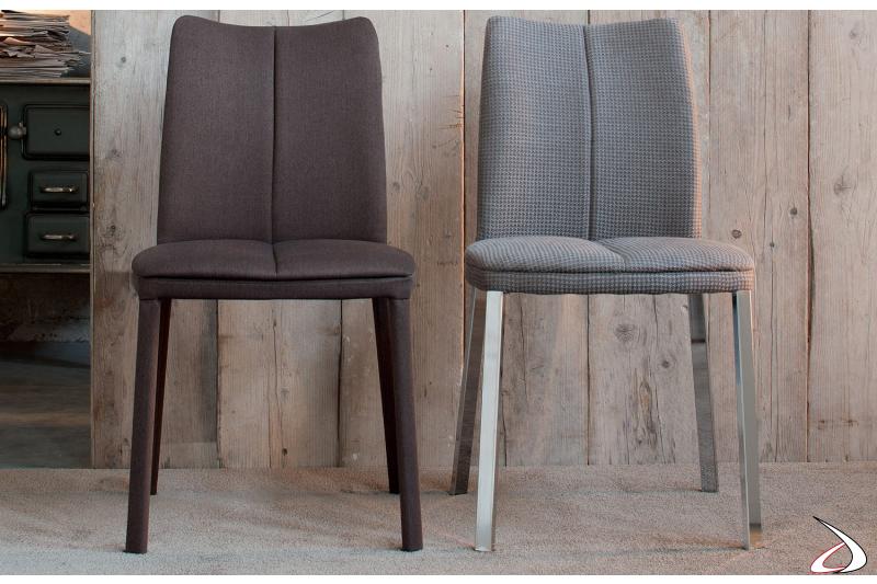 Sedia moderna con gambe in metallo o completamente rivestita in tessuto