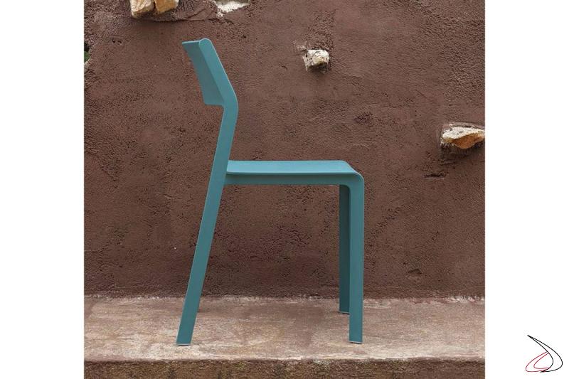 Sedia per esterno color ottanio  senza braccioli Trill