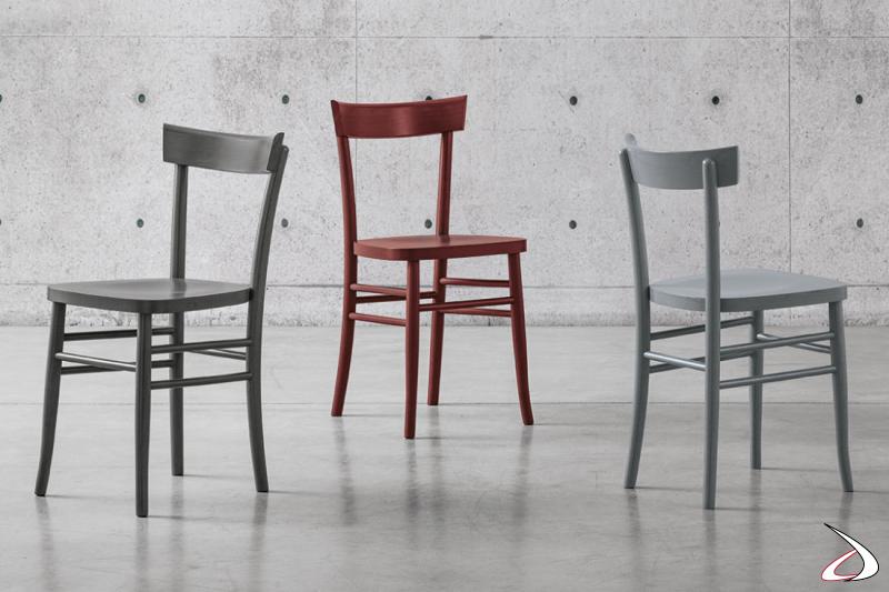 Sedie moderne in legno laccato colorato Lucrezia