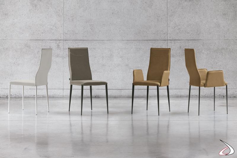 Sedie moderne con braccioli e schienale alto Skill