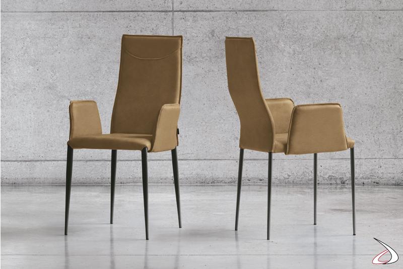 Sedia moderna con braccioli e schienale alto Skill